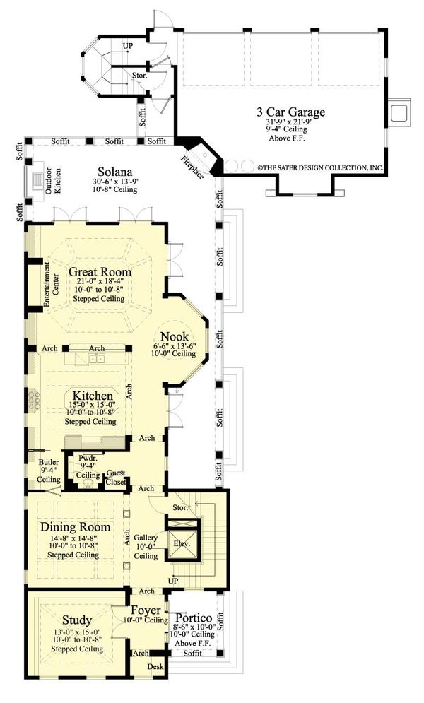Southern Floor Plan - Main Floor Plan Plan #930-407