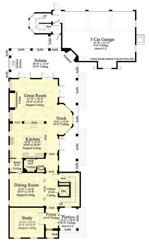 Southern Floor Plan - Main Floor Plan #930-407
