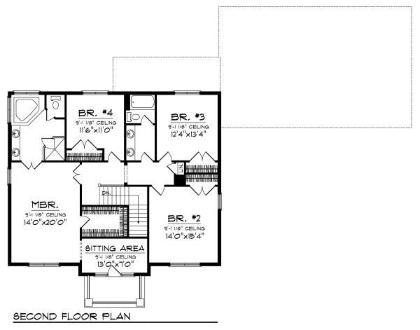 European Floor Plan - Upper Floor Plan Plan #70-882