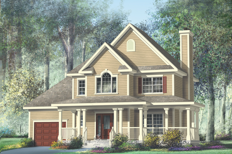 Country Style House Plan - 3 Beds 2.5 Baths 1708 Sq/Ft Plan #25-2012 Exterior - Front Elevation