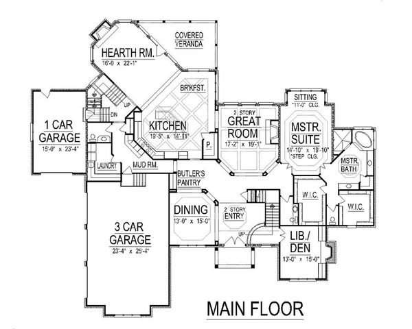 European Floor Plan - Main Floor Plan Plan #458-7