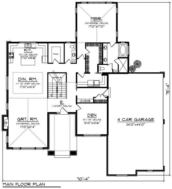 Modern Floor Plan - Main Floor Plan #70-1430