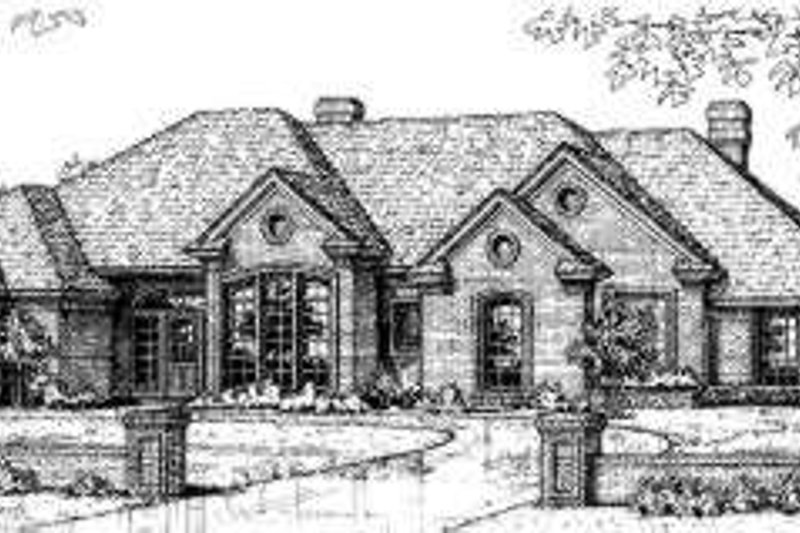 European Style House Plan - 5 Beds 3 Baths 2858 Sq/Ft Plan #310-187 Exterior - Front Elevation