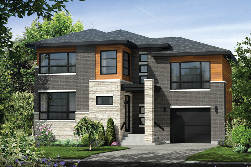 Contemporary Style House Plan - 3 Beds 1 Baths 2342 Sq/Ft Plan #25-4421 Exterior - Front Elevation