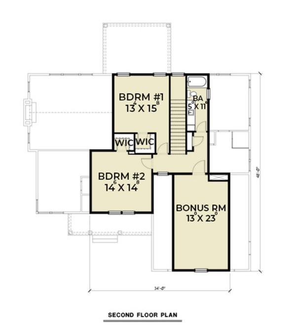Farmhouse Floor Plan - Upper Floor Plan #1070-16