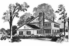 Colonial Exterior - Rear Elevation Plan #72-370
