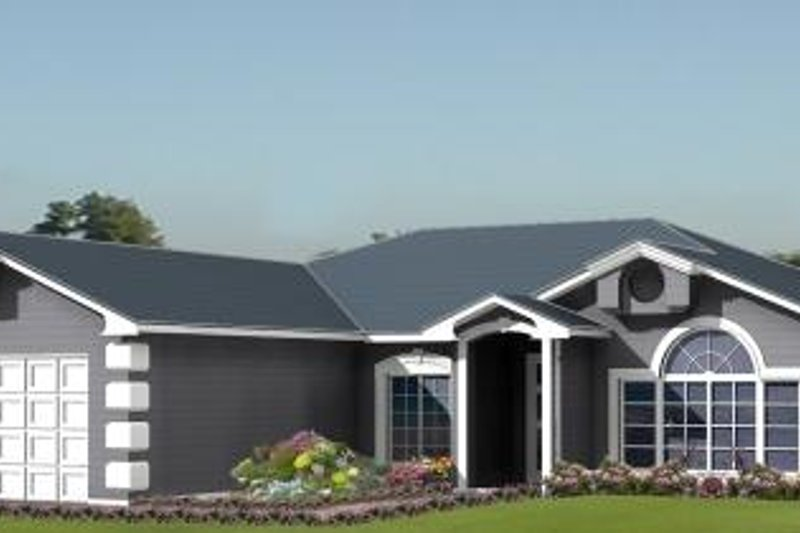 Adobe / Southwestern Style House Plan - 3 Beds 2 Baths 1713 Sq/Ft Plan #1-1010 Exterior - Front Elevation