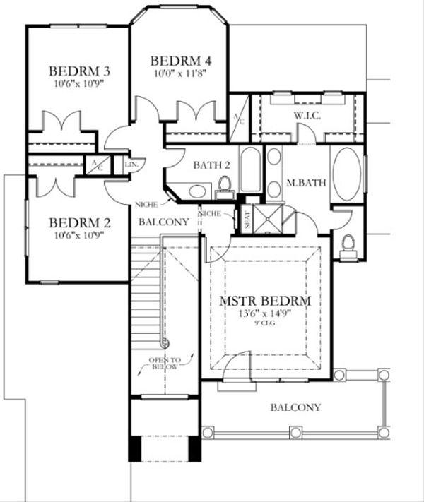 House Plan Design - Mediterranean Floor Plan - Upper Floor Plan #80-153