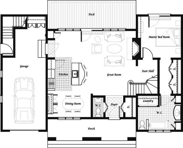 Craftsman Floor Plan - Main Floor Plan Plan #492-5