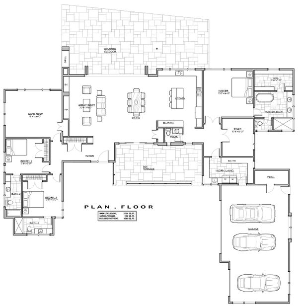 Modern Floor Plan - Main Floor Plan Plan #892-12