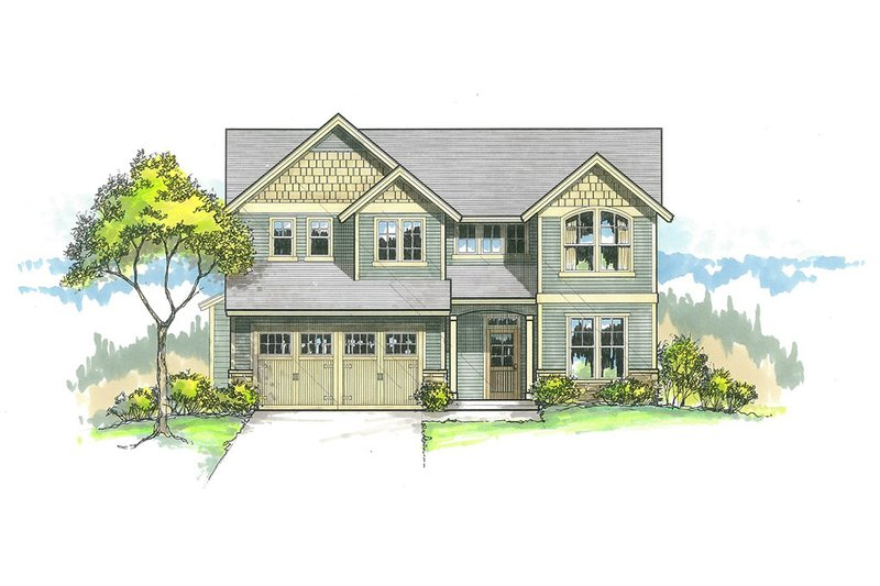 Craftsman Style House Plan - 4 Beds 2.5 Baths 2186 Sq/Ft Plan #53-514 Exterior - Front Elevation