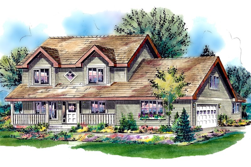 Country Style House Plan - 5 Beds 3 Baths 2150 Sq/Ft Plan #18-288 Exterior - Front Elevation