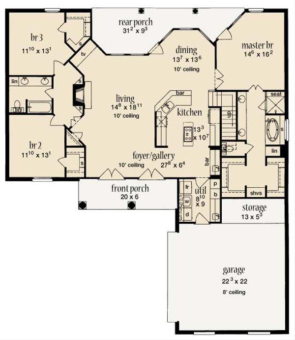 European Floor Plan - Main Floor Plan Plan #36-428