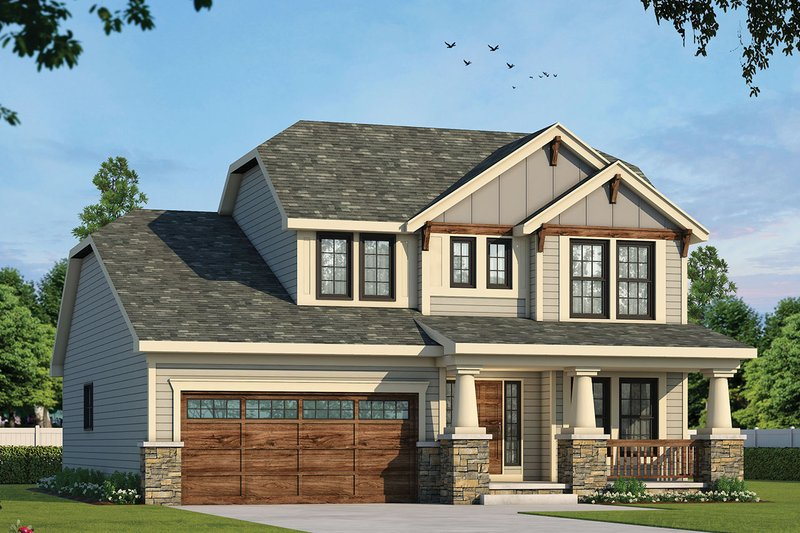 Dream House Plan - Craftsman Exterior - Front Elevation Plan #20-2236