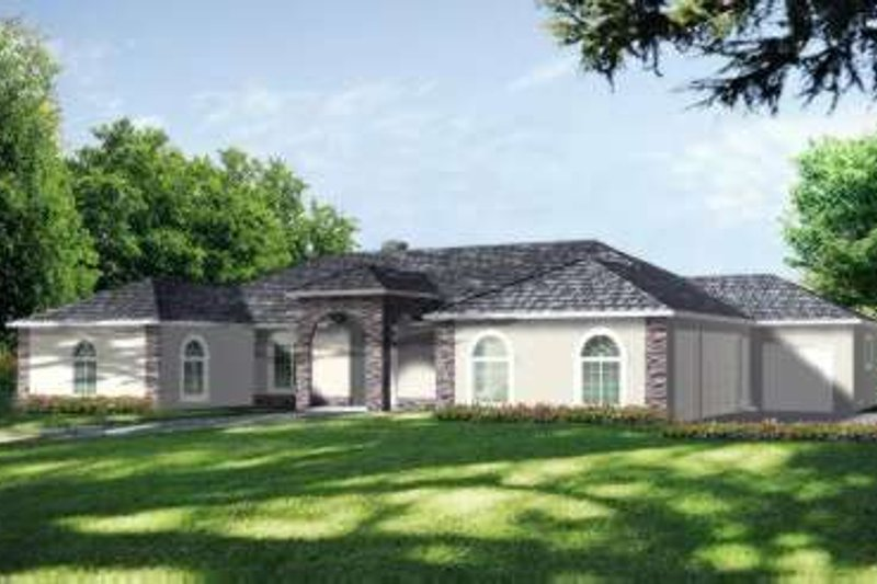 Adobe / Southwestern Style House Plan - 4 Beds 4 Baths 3186 Sq/Ft Plan #1-790 Exterior - Front Elevation