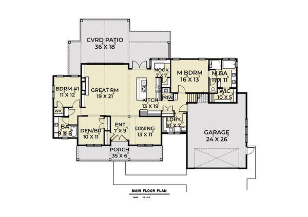 Farmhouse Floor Plan - Main Floor Plan Plan #1070-93