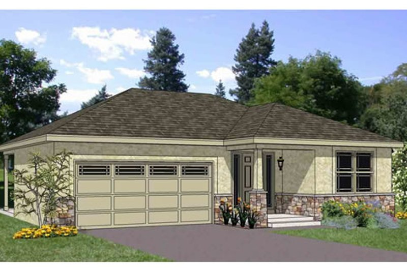 Ranch Style House Plan - 3 Beds 2 Baths 1202 Sq/Ft Plan #116-279 Exterior - Front Elevation