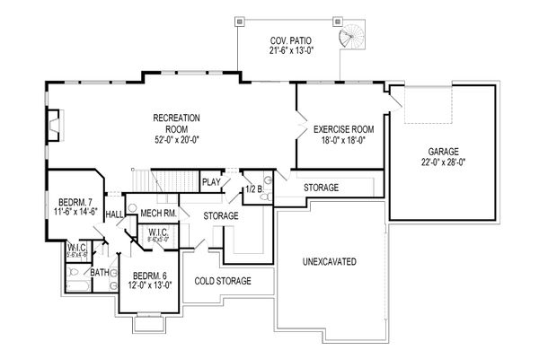 Architectural House Design - European Floor Plan - Lower Floor Plan #920-86