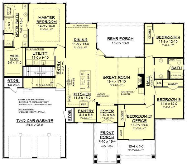 House Plan Design - Country Floor Plan - Lower Floor Plan #430-194