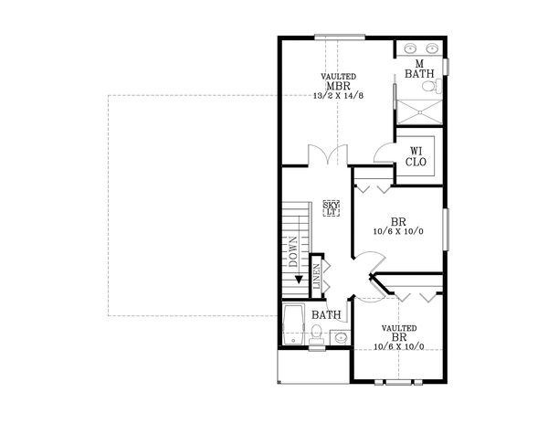 Craftsman Floor Plan - Upper Floor Plan Plan #53-596
