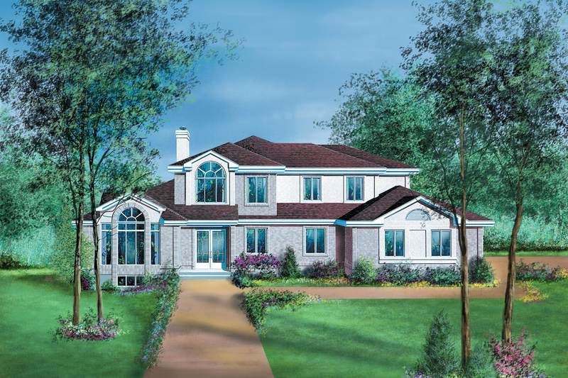 Traditional Style House Plan - 4 Beds 2.5 Baths 2637 Sq/Ft Plan #25-2186 Exterior - Front Elevation