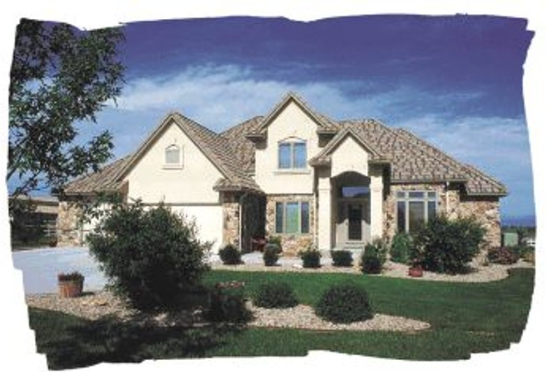 European Style House Plan - 4 Beds 2.5 Baths 2579 Sq/Ft Plan #20-284 Exterior - Front Elevation