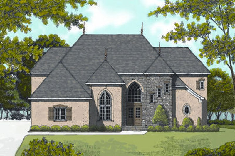 European Exterior - Front Elevation Plan #413-818