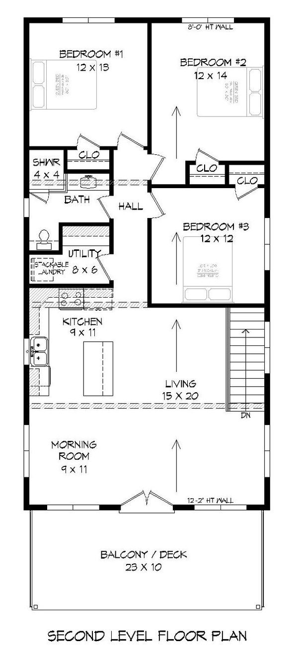Contemporary Floor Plan - Upper Floor Plan #932-178