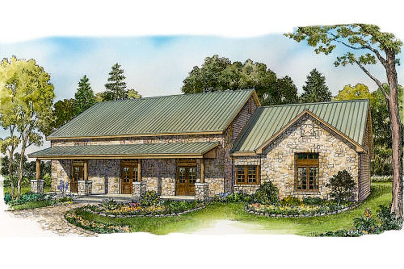 Ranch Style House Plan - 3 Beds 2 Baths 2136 Sq/Ft Plan #140-153 Exterior - Front Elevation