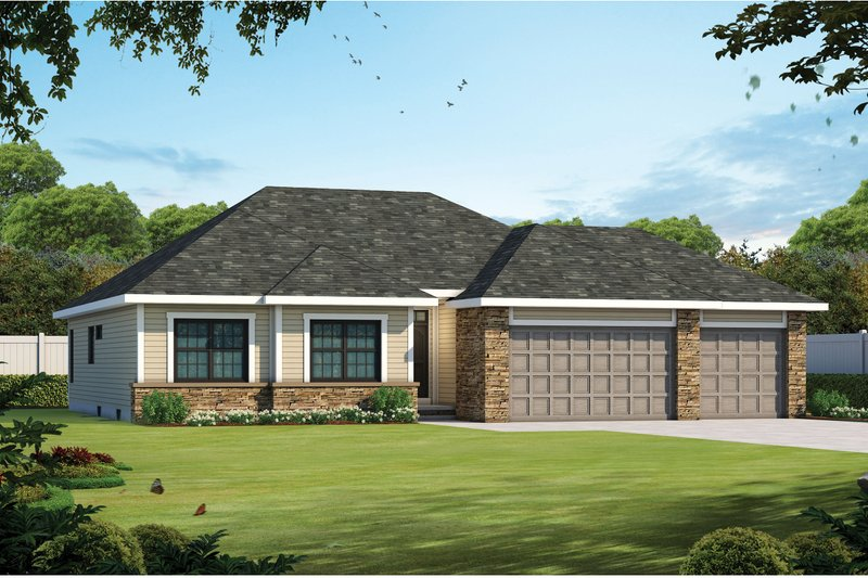 Ranch Exterior - Front Elevation Plan #20-2297