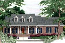 Southern Exterior - Front Elevation Plan #406-195