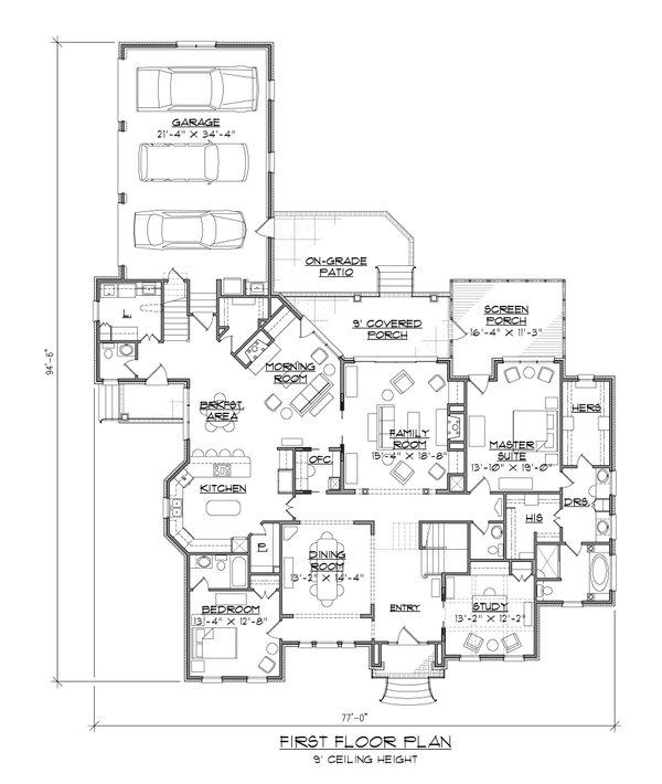 Traditional Floor Plan - Main Floor Plan #1054-59