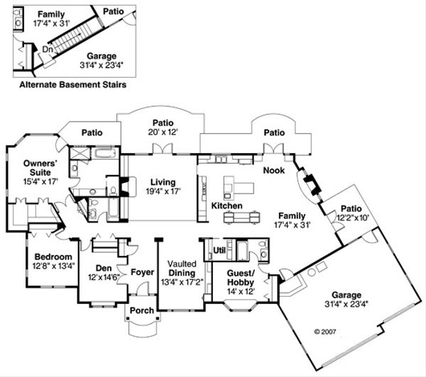 Ranch Floor Plan - Main Floor Plan Plan #124-372