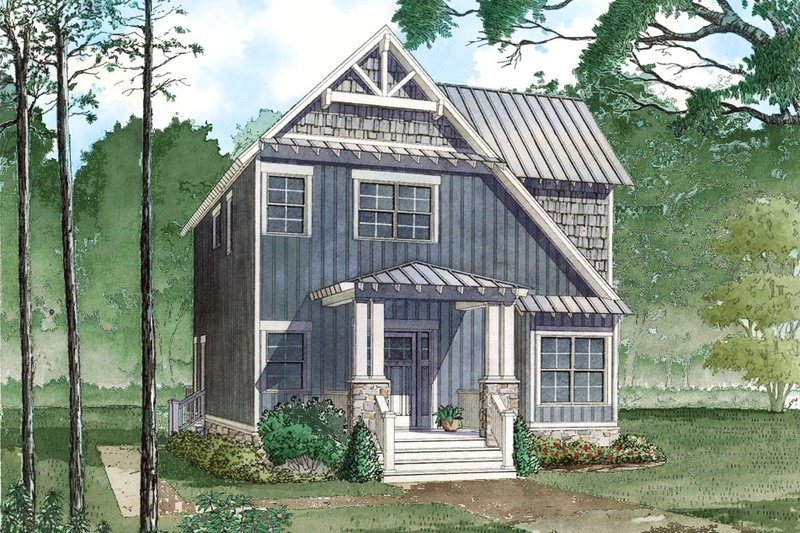 Craftsman Style House Plan - 3 Beds 2 Baths 1706 Sq/Ft Plan #923-81 Exterior - Front Elevation