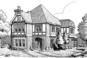 Dream House Plan - Tudor Exterior - Front Elevation Plan #410-213