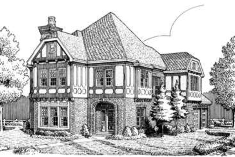 Tudor Exterior - Front Elevation Plan #410-213