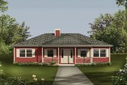 Country Style House Plan - 3 Beds 2 Baths 1364 Sq/Ft Plan #57-447 Exterior - Front Elevation