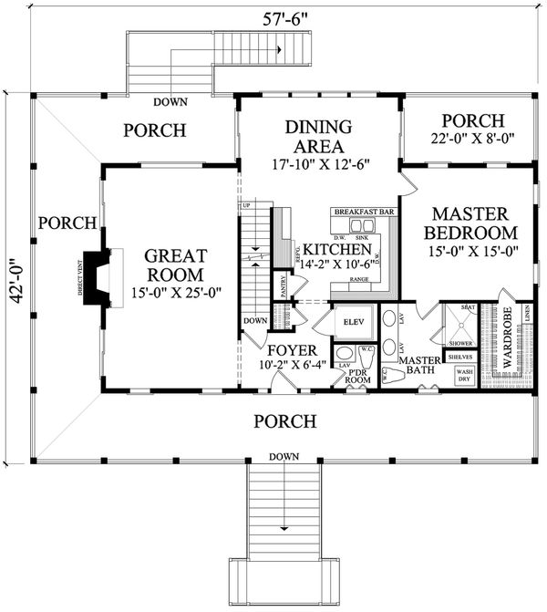 Southern style house plan, Country design, main level floor plan