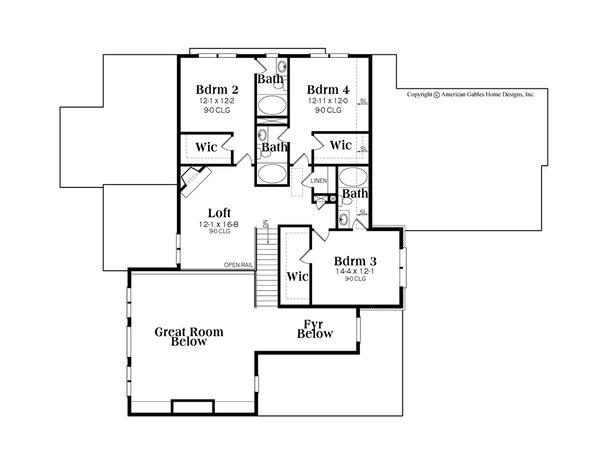 Craftsman Floor Plan - Upper Floor Plan Plan #419-269