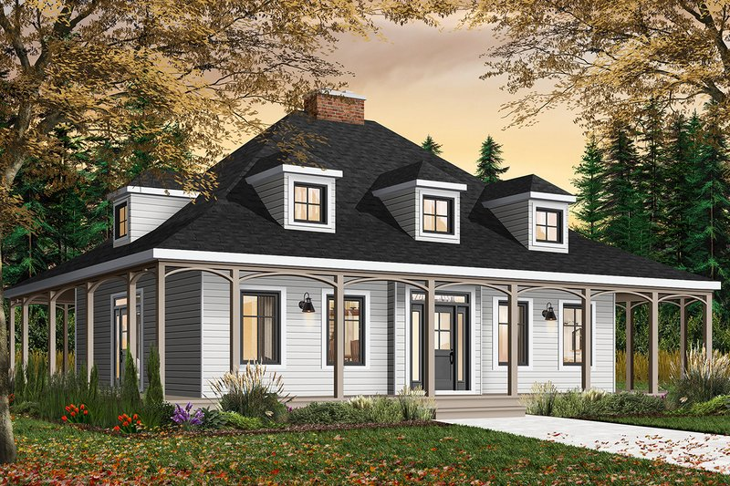 Country Exterior - Front Elevation Plan #23-2091