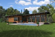 Contemporary Style House Plan - 3 Beds 2.5 Baths 2110 Sq/Ft Plan #48-1001 Exterior - Rear Elevation