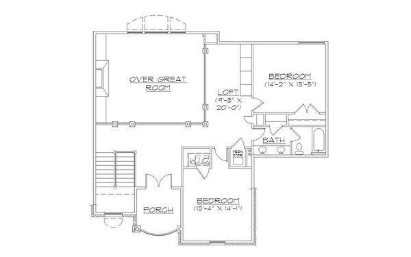 European Floor Plan - Upper Floor Plan Plan #5-397