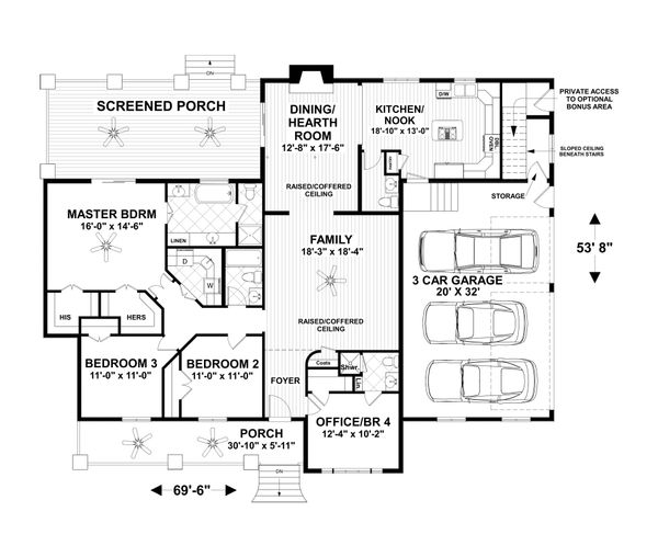 Craftsman Floor Plan - Main Floor Plan Plan #56-712