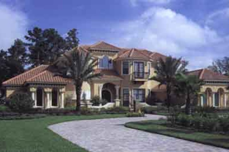 Mediterranean Style House Plan - 5 Beds 5 Baths 5240 Sq/Ft Plan #135-137 Exterior - Front Elevation