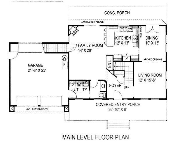 Country Floor Plan - Main Floor Plan Plan #117-529