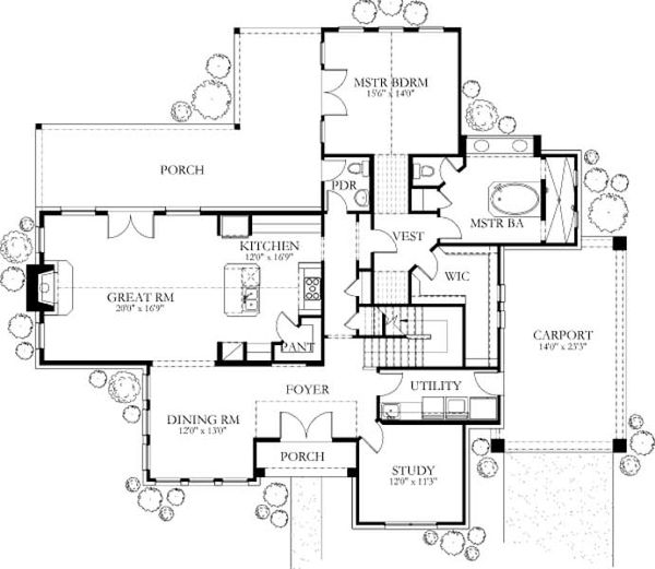 Dream House Plan - European Floor Plan - Main Floor Plan #80-171