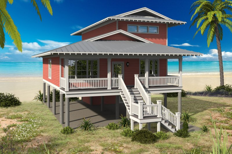 Beach Exterior - Front Elevation Plan #932-274