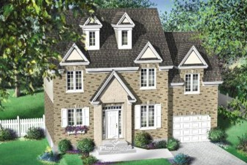 Colonial Style House Plan - 3 Beds 1.5 Baths 1652 Sq/Ft Plan #25-4160 Exterior - Front Elevation