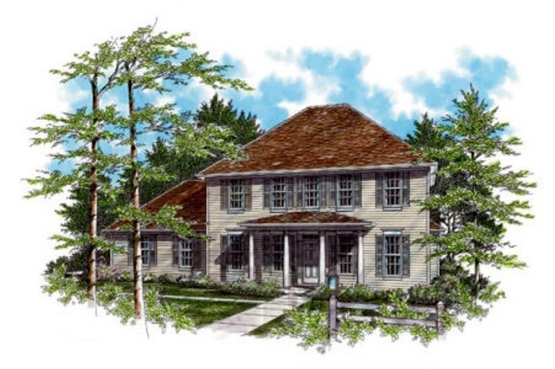 Colonial Exterior - Front Elevation Plan #48-435
