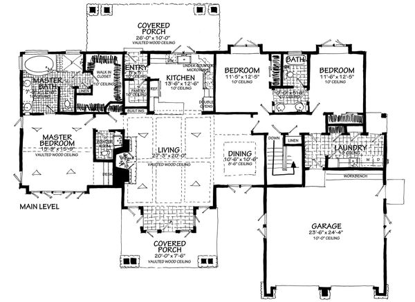 Craftsman Floor Plan - Main Floor Plan Plan #942-58